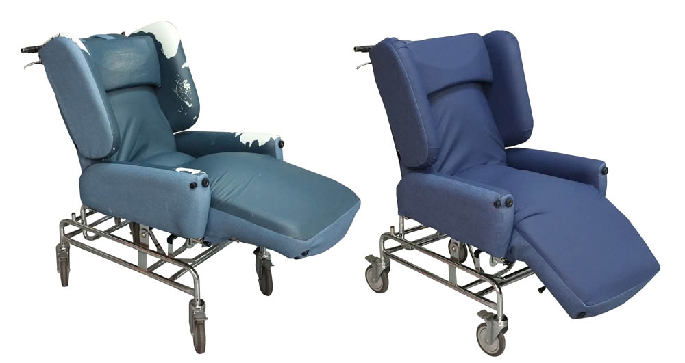 Original and re-upholstered patient chair