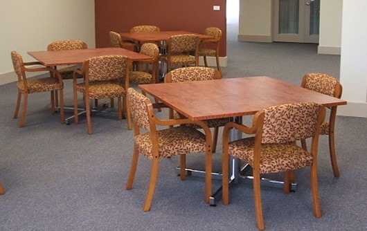 Dining settings at Princes Court assisted living